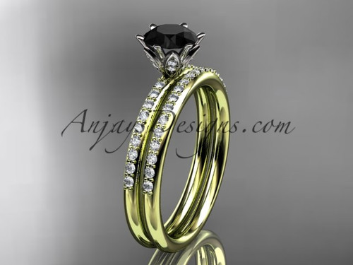 14kt yellow gold diamond unique engagement set, wedding ring with a Black Diamond center stone ADER145S