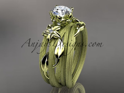 14kt yellow gold diamond floral, leaf and vine wedding ring, engagement set ADLR253S