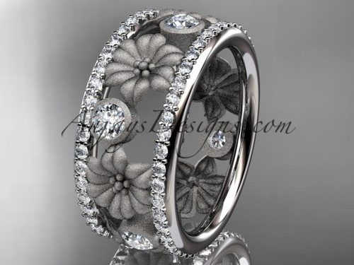 14k white gold diamond flower wedding ring, engagement ring ADLR239