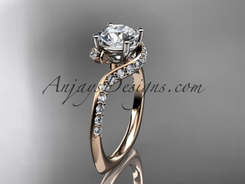 """Unique 14k rose gold engagement ring, wedding ring with a """"Forever One"""" Moissanite center stone ADLR277"""