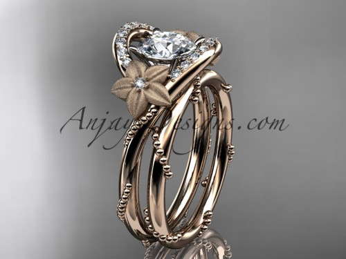 Moissanite Flower Engagement Ring Rose Gold Unique Wedding Ring set ADLR166S