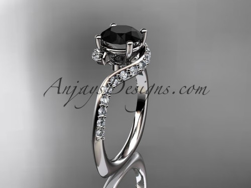 Unique 14k white gold engagement ring, wedding ring with a Black Diamond center stone ADLR277