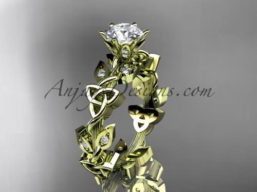 14kt yellow gold diamond celtic trinity knot wedding ring, engagement ring CT7209