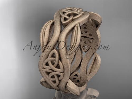 Rose Matte Finish Gold Celtic Leaf Engagement Ring CT7264G