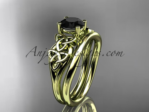 14kt yellow gold celtic trinity knot wedding ring, engagement set with a Black Diamond center stone CT7169S