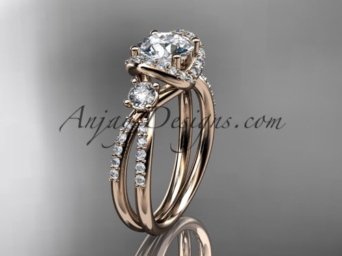 14kt rose gold diamond unique engagement ring,wedding ring ADER146