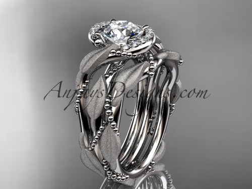 "14kt white gold diamond leaf and vine wedding ring, engagement set with a ""Forever One"" Moissanite center stone ADLR65S"