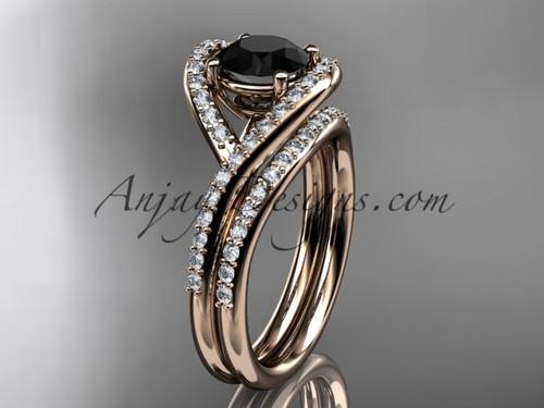 14kt rose gold diamond wedding ring, engagement set with a Black Diamond center stone ADLR383S