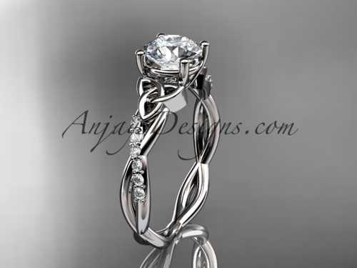 platinum diamond celtic trinity knot wedding ring, engagement ring CT7388