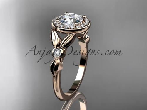 """14kt rose gold diamond floral wedding ring, engagement ring with a """"Forever One"""" Moissanite center stone ADLR129"""