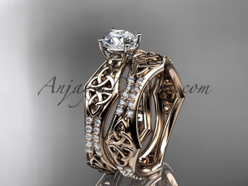 """14kt rose gold diamond celtic trinity ring,  triquetra ring, engagement  set with a """"Forever One"""" Moissanite center stone CT7353S"""