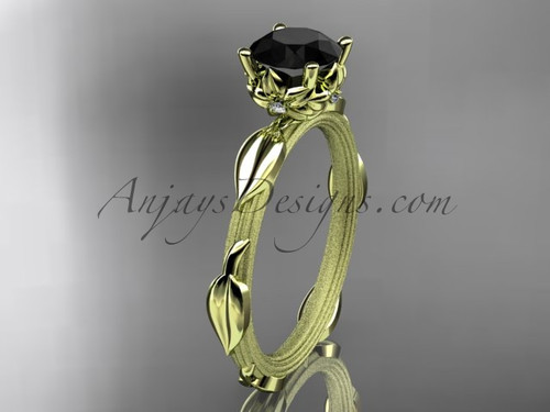 14k yellow gold diamond vine and leaf wedding ring, engagement ring with a Black Diamond center stone ADLR290
