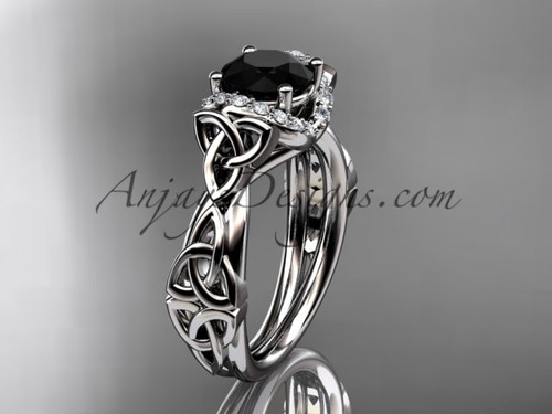 platinum diamond celtic trinity knot wedding ring, engagement ring with a Black Diamond center stoneCT7289