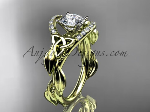 """14kt yellow gold diamond celtic trinity knot wedding ring, engagement ring with a """"Forever One"""" Moissanite center stoneCT7326"""