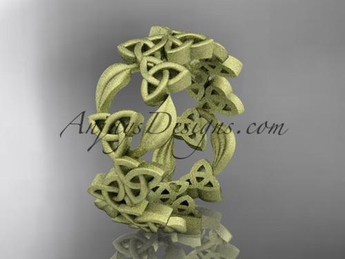 Celtic & Leaf Matte Yellow Gold Wedding Band CT7250B