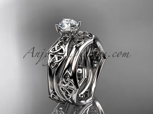 """14kt white gold celtic trinity ring,  triquetra ring, engagement  set with a """"Forever One"""" Moissanite center stone CT7356S"""