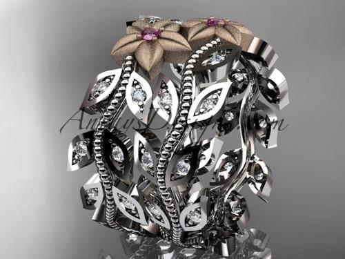 14kt two-tone gold diamond flower, leaf and vine wedding ring, engagement set, wedding band ADLR162B