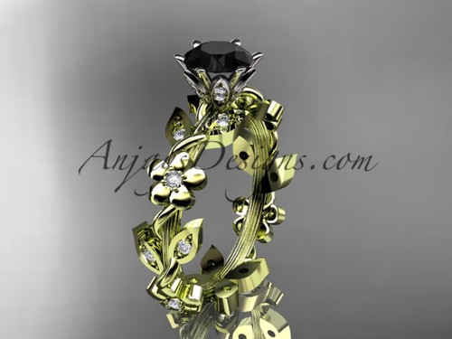 14kt yellow gold diamond leaf and vine engagement ring with a Black Diamond center stone ADLR209