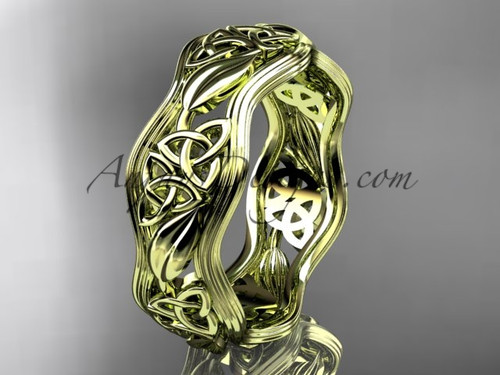 14kt yellow gold celtic trinity knot wedding band, engagement  ring CT7504G
