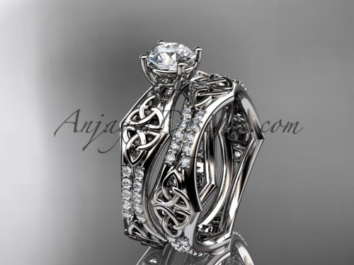 """14kt white gold diamond celtic trinity ring,  triquetra ring, engagement  set with a """"Forever One"""" Moissanite center stone CT7353S"""