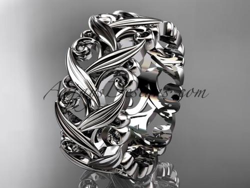 14kt white gold diamond leaf and vine wedding ring, engagement ring, wedding band ADLR49B