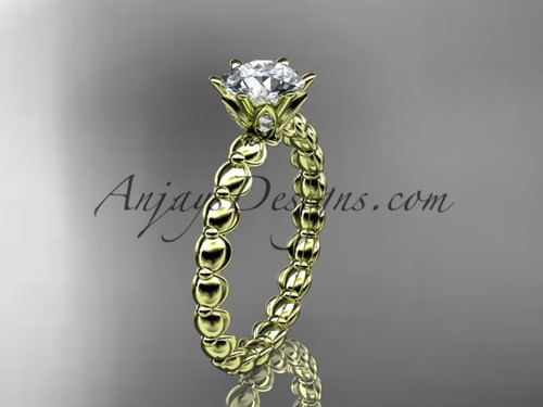 "14k yellow gold diamond vine and leaf wedding ring, engagement ring with  ""Forever One"" Moissanite center stone ADLR34"
