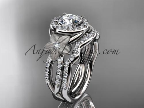 14kt white gold  diamond floral wedding ring, engagement set ADLR127S
