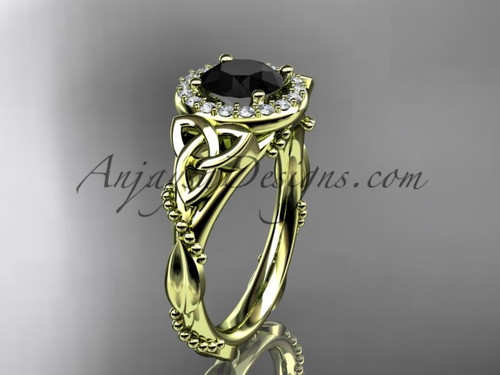 14kt yellow gold diamond celtic trinity knot wedding ring, engagement ring with a Black Diamond center stoneCT7328