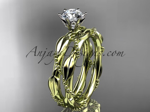 "14k yellow gold diamond vine and leaf wedding ring, engagement set with a ""Forever One"" Moissanite center stone ADLR178S"