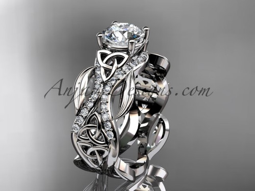 """14kt white gold diamond celtic trinity knot wedding ring, engagement ring with a """"Forever One"""" Moissanite center stoneCT7515"""