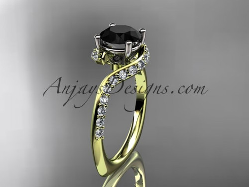 Unique 14k yellow gold engagement ring, wedding ring with a Black Diamond center stone ADLR277