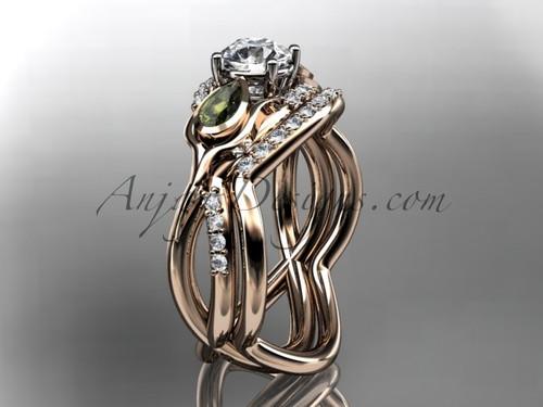 "Unique 14kt rose gold diamond tulip flower, wedding set, leaf and vine engagement set with a ""Forever One"" Moissanite center stone ADLR226"