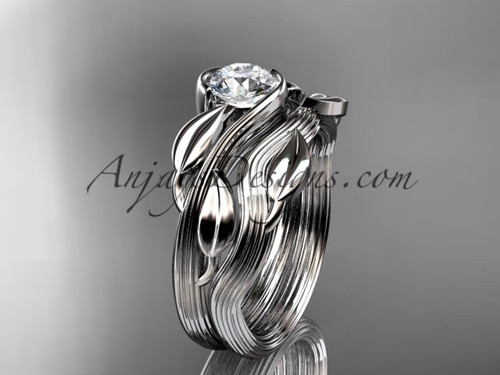 """platinum leaf and vine wedding ring, engagement set with a """"Forever One"""" Moissanite center stone ADLR273S"""