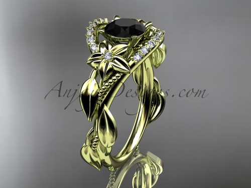 14kt yellow gold diamond unique engagement ring, wedding ring with a Black Diamond center stone ADLR326