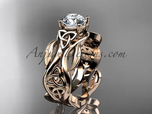 "14kt rose gold celtic trinity knot wedding ring, engagement ring with a ""Forever One"" Moissanite center stone CT7264"