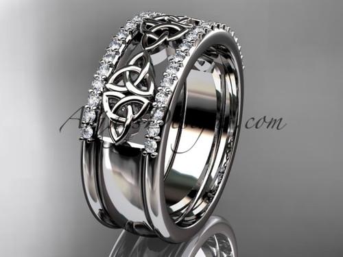 14kt white gold diamond celtic trinity knot  wedding band, bridal ring CT7406B