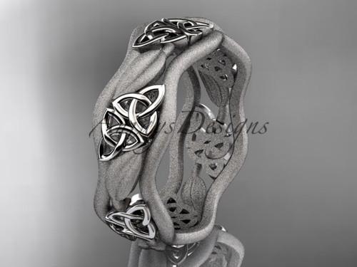 Celtic Wedding Bands, Platinum Leaf Wedding Ring CT7512GM