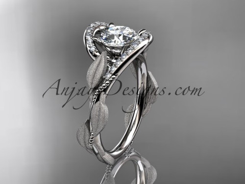 Solitaire Simple Engagement Ring White Gold Leaf Ring ADLR64