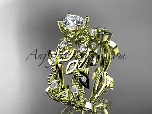 """14k yellow gold diamond leaf and vine wedding ring, engagement set with  """"Forever One"""" Moissanite center stone ADLR59S"""