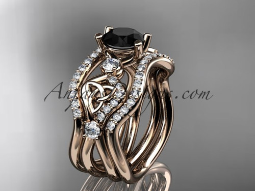 Celtic Bridal Ring Set Rose Gold  Black Diamond Ring CT768S