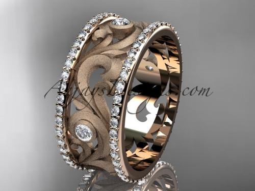 14kt rose gold diamond engagement ring, wedding band ADLR121BA