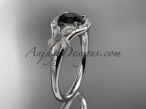 14kt white gold diamond leaf and vine wedding ring, engagement ring with a Black Diamond center stone ADLR91