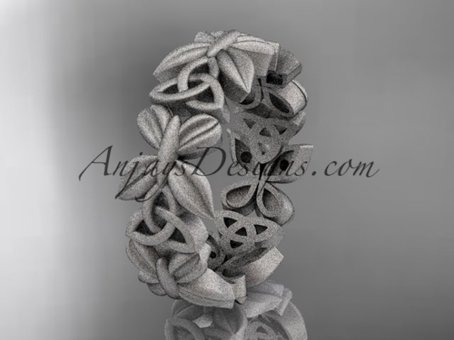 platinum celtic trinity knot matte finish wedding band, engagement ring CT7347G