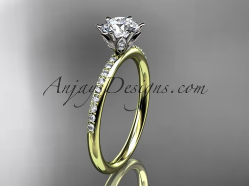 """14kt yellow gold diamond unique engagement ring, wedding ring with a """"Forever One"""" Moissanite center stone ADER145"""