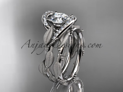 Vine and Leaf Engagement Ring Set White Gold Ring ADLR64S