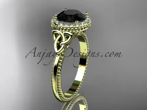 14kt yellow gold diamond celtic trinity knot wedding ring, engagement ring with a Black Diamond center stone CT7157