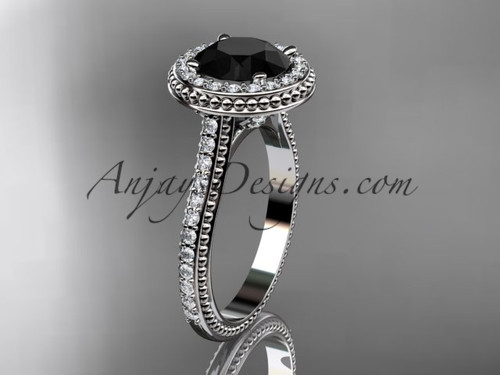14kt white gold diamond unique engagement ring, wedding ring with a Black Diamond center stone ADER97
