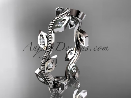 platinum diamond leaf and vine wedding ring, engagement ring, wedding band ADLR1BA