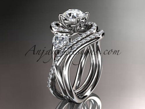 """Unique 14kt white gold diamond engagement set, wedding ring with a """"Forever One"""" Moissanite center stone ADLR320S"""