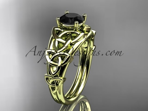 14kt yellow gold celtic trinity knot engagement ring , wedding ring  with a Black Diamond center stone CT765